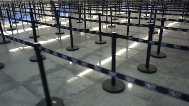 immigration line dividers at the airport in cabo san lucas, mexico. - baja california peninsula stock videos & royalty-free footage