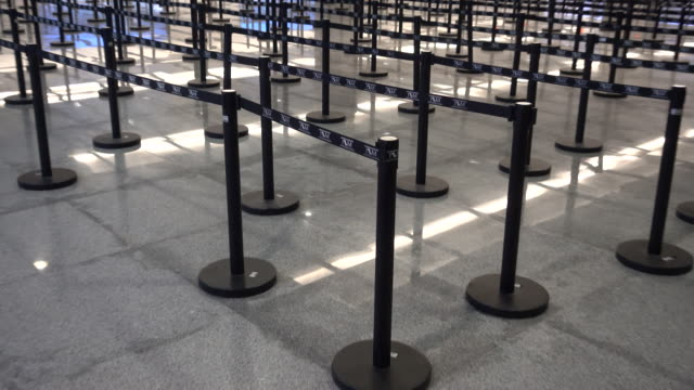 immigration line dividers at the airport in cabo san lucas, mexico. - cabo san lucas stock videos & royalty-free footage
