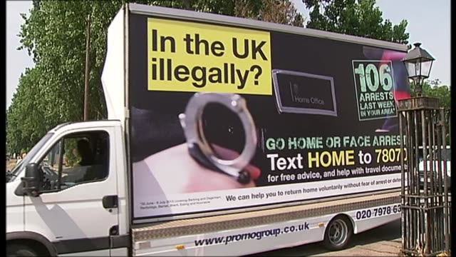 stockvideo's en b-roll-footage met immigration minister admits some members of windrush generation have been wrongly deported lib / 2272013 ext various shots of home office poster van... - deportatie