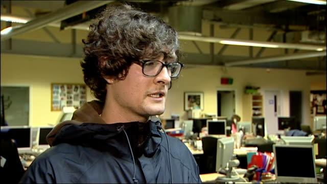 immigration minister phil woolas custard pie attack; england: manchester: int john archer interview sot - custard stock videos & royalty-free footage