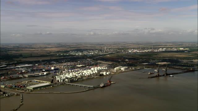 immingham dock - aerial view - england, north lincolnshire, north killingholme, united kingdom - lincolnshire stock videos & royalty-free footage