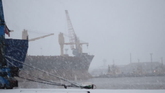 stockvideo's en b-roll-footage met immingham dock snow storm - pier