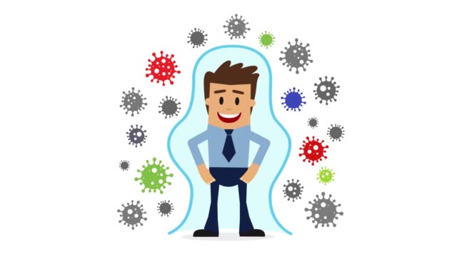 immune system. health bacteria virus protection. medical prevention human germ. healthy man reflect bacteria attack with shield. boost immunity with medicine concept. - security stock videos & royalty-free footage