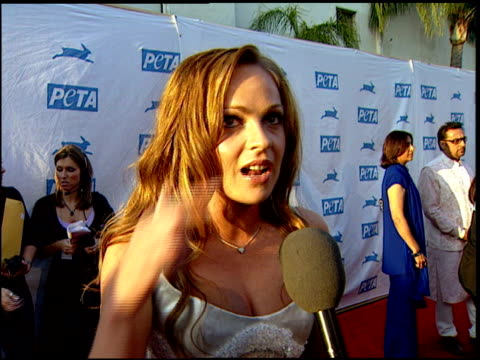 imogen bailey on why she likes doing the peta campaign at the peta's 25th anniversary gala and humanitarian awards show at paramount studios in... - paramount studios stock videos and b-roll footage