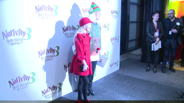 imogen thomas, debbie douglas, martin clunes and jake quickenden at nativity 3: dude, where's my donkey premiere on 2nd november 2014 in london,... - マーティン クランズ点の映像素材/bロール