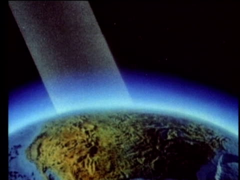 1990 ANIMATION Impact of carbon dioxide on atmosphere and climate change, USA, AUDIO