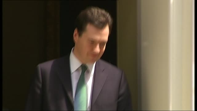 impact of eight years of austerity on the uk r22061005 / london downing street george osborne mp from no 11 holding emergency austerity budget - george osborne stock videos & royalty-free footage
