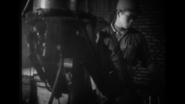 stockvideo's en b-roll-footage met imperial japanese army soldiers join with civilian workers in a bottling plant pastry bakery miso plant and on a hog farm - tweede wereldoorlog in azië