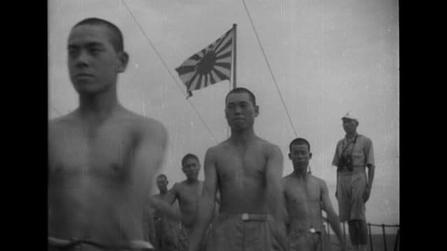 vidéos et rushes de imperial japanese navy sailors exercise on a warship deck as japanese marines train in martial arts with sumo judo and kendo contests - vaisseau de guerre