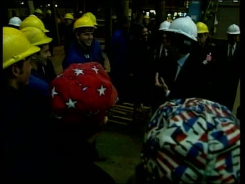 Import sanctions on EU goods in banana war ITN London Ambassador Philip Lader sitting in car as along US Ambassador Philip Lader interviewed SOT it's...