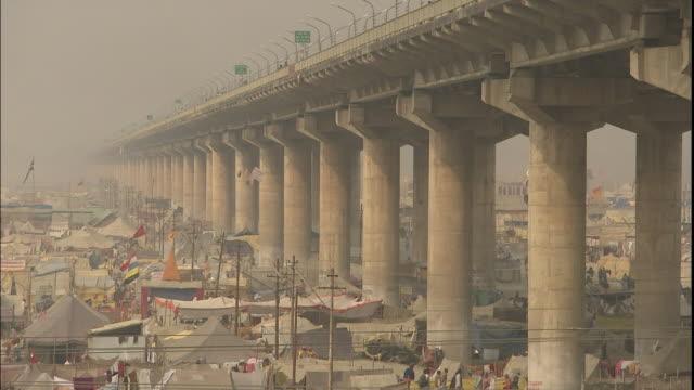 Imposing road bridge over Allahabad, Uttar Pradesh, India