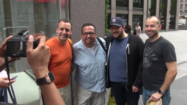 'impractical jokers' joe gatto and james murray leaving siriusxm satellite radio celebrity sightings in new york on july 14 2015 in new york city new... - joker card stock videos and b-roll footage