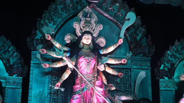 stockvideo's en b-roll-footage met impressions of the durgapuja festival in farmgate in dhaka in bangladesh, visitors are joining the festival. durgapuja is the largest hindu festival... - number 9