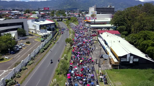 impressive aerial view of a manifestation march in costa rica. a stricklands against government pac - trade union stock videos & royalty-free footage
