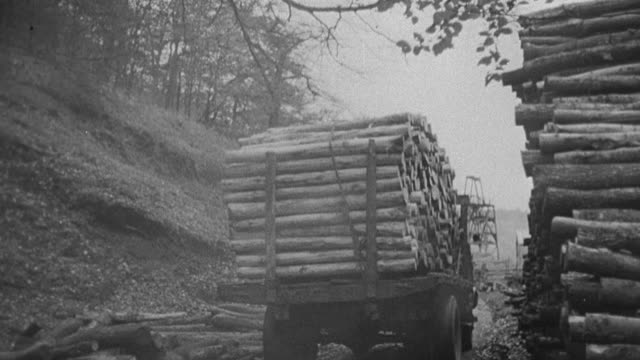 1978 montage in 1939, railroad boxcars traveling toward coal mine, truck loaded with logs leaving logging yard, train pulling loaded coal cars leaving tipple, pedestrians with passing train in the background, and a working coal tipple / united kingdom - c119gs点の映像素材/bロール
