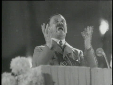 in 1941 adolf hitler gives an intense speech - adolf hitler stock-videos und b-roll-filmmaterial