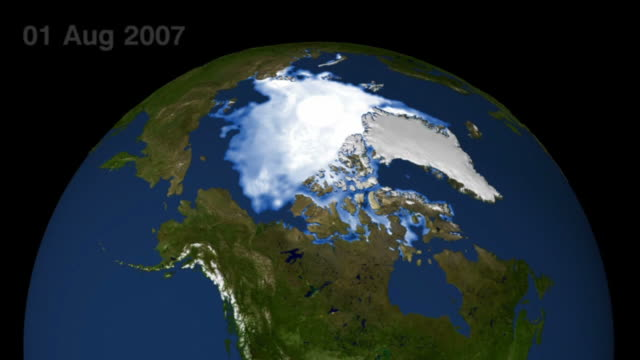 vídeos de stock, filmes e b-roll de in 2007, arctic summer sea ice reached its lowest extent on record - nearly 25% less than the previous low set in 2005. - escrita ocidental