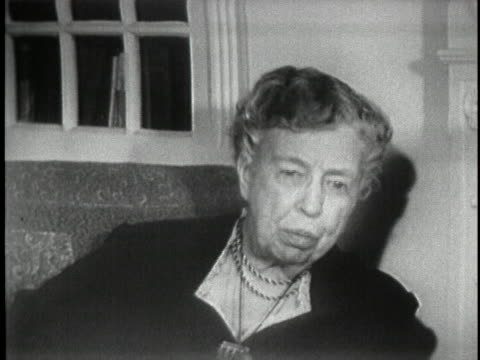 in a 1956 interview, former first lady eleanor roosevelt says that one never has a normal family relationship living in the white house. - first lady stock videos & royalty-free footage