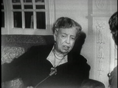 in a 1956 interview former first lady eleanor roosevelt states that a woman would not be a good vice president because women are not parliamentarians - gender stereotypes stock videos & royalty-free footage