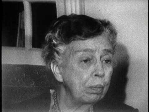 in a 1956 interview, former first lady eleanor roosevelt states that only president eisenhower can make a decision about the state of his health,... - united states and (politics or government) stock videos & royalty-free footage