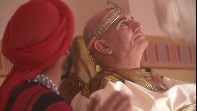 in a biblical reenactment, joseph speaks with pharaoh. - north africa stock videos & royalty-free footage