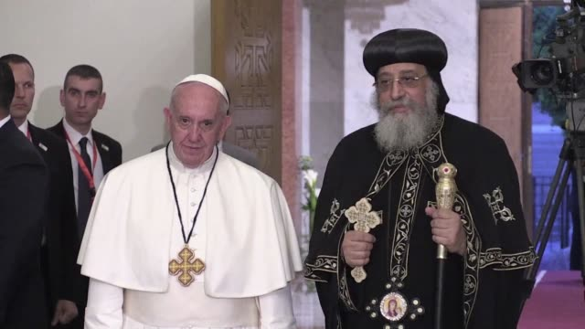 in a cairo church bombed by the islamic state group just months ago pope francis and the coptic orthodox patriarch sat side by side friday and prayed... - side by side stock videos & royalty-free footage