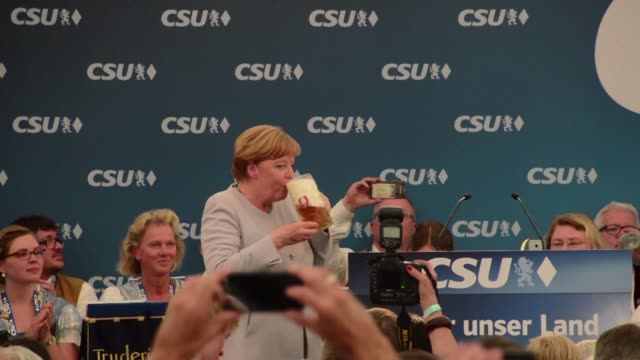 in a campaigning event organised in munich by the csu her bavarian ally the german chancellor angela merkel insists on the importance for europeans... - political party stock videos & royalty-free footage