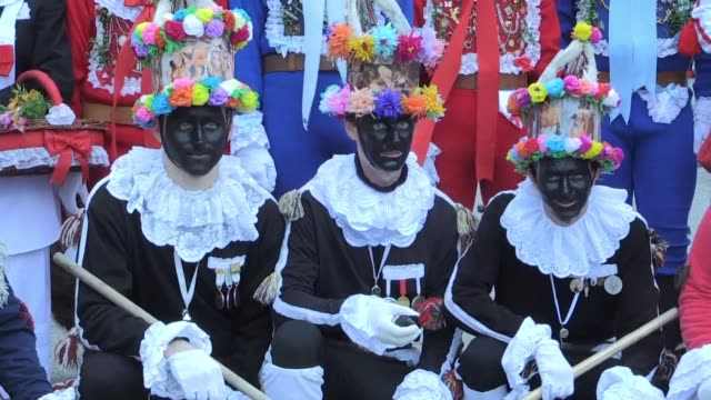 in a czech version of the mardi gras men from the central czech village of vortova walk around wearing carnival masks representing mares knackers... - gras stock videos and b-roll footage