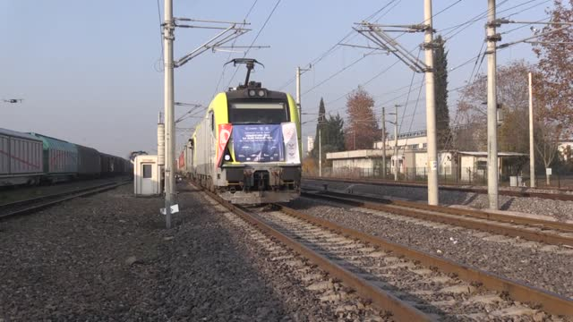 in a major milestone, the first train carrying goods from turkey to china reached its destination on saturday, turkey's transport and infrastructure... - kazakhstan stock videos & royalty-free footage