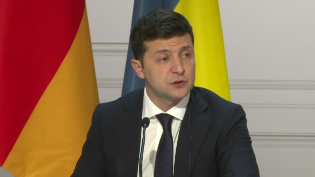 in a news conference after a summit on ukraine held in paris ukrainian president volodymyr zelensky announces that pro moscow separatists will hold a... - president stock videos & royalty-free footage
