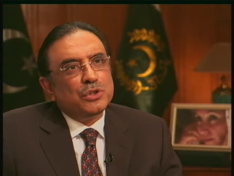 in a public statement, pakistani president asif ali zardari condemns the attack on the islamabad marriott hotel and pledges to stand with other... - (war or terrorism or election or government or illness or news event or speech or politics or politician or conflict or military or extreme weather or business or economy) and not usa stock videos & royalty-free footage