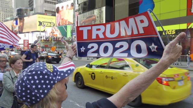 in a rally titled 'ilhan omar must go' jews and several maga trump supporters gathered in times square calling for the removal of freshman minnesota... - short phrase stock videos and b-roll footage