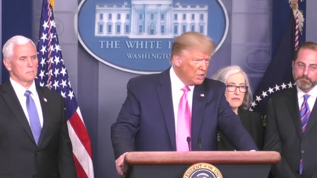 in a rare press conference from the white house donald trump says it is not inevitable that the novel coronavirus would continue to spread across the... - press room stock videos & royalty-free footage