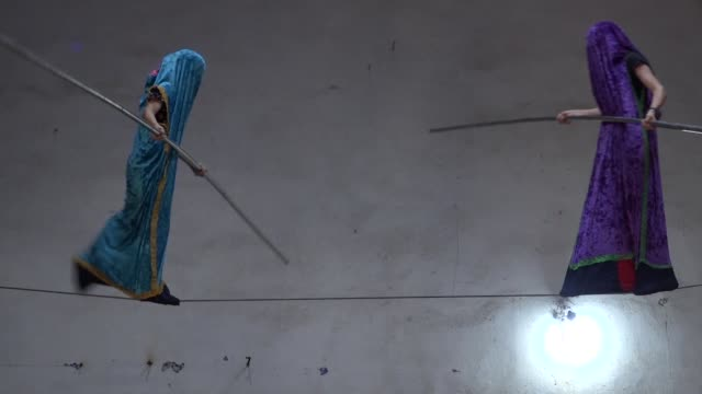 in a remote village of chakhchakh in the southern russian region of dagestan 13 year old muhamed balikhanov is one of the few to continue a tradition... - tightrope walking stock videos & royalty-free footage