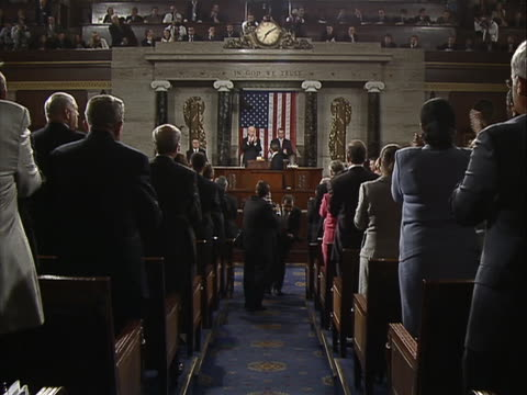 in a speech to a joint session of congress on september 8 president barack obama announced his administration's newest proposal to jolt the stalled... - united states congress点の映像素材/bロール