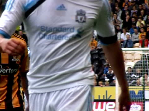 stockvideo's en b-roll-footage met in action for liverpool against hull city during a pre-season friendly in july 2011 joe cole at anfield on september 20, 2011 in liverpool, england - vrijetijdsfaciliteiten