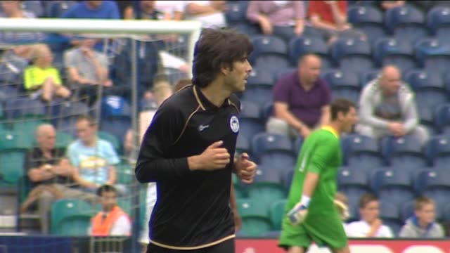 in action for wigan athletic during a pre-season friendly against preston north end in july 2011 central midfielder jordi gomez at deepdale on... - lancashire stock videos & royalty-free footage