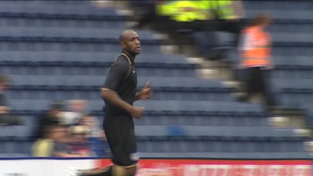 in action for wigan athletic during a pre-season friendly against preston north end in july 2011 right back emmerson boyce at deepdale on september... - lancashire stock videos & royalty-free footage