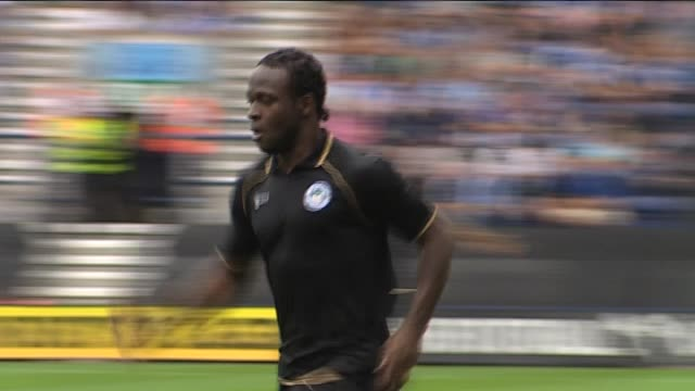 in action for wigan athletic during a pre-season friendly against preston north end in july 2011 left wing victor moses at deepdale on september 22,... - lancashire stock videos & royalty-free footage