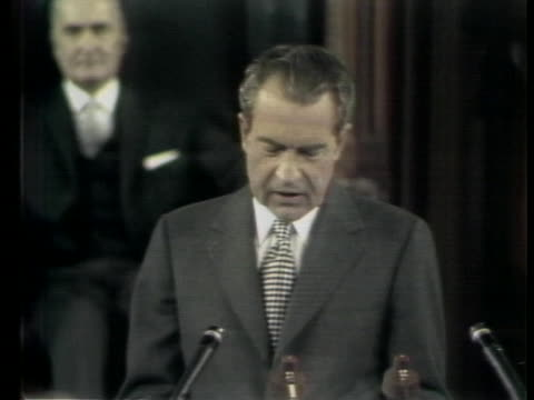 in an address to a joint session of the canadian parliament us president richard nixon stresses the need for the us and canada to find a pattern of... - business or economy or employment and labor or financial market or finance or agriculture stock videos & royalty-free footage