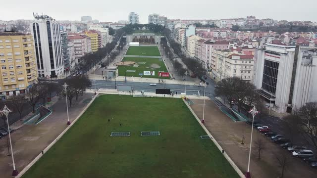 in an aerial view from a drone, alameda d. afonso henriques is seen almost empty during the current lockdown on january 31, 2021 in lisbon, portugal.... - portugal stock videos & royalty-free footage