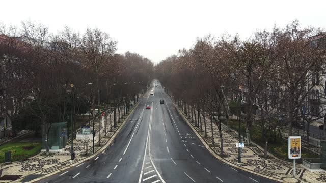in an aerial view from a drone, avenida da liberdade is seen almost empty during the current lockdown on january 31, 2021 in lisbon, portugal. the... - liberdade stock videos & royalty-free footage