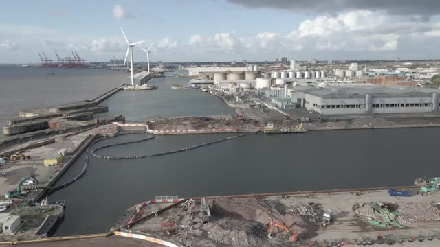 in an aerial view, progress at the site of everton fc's new stadium with work on the grounds and preparations at the dock continues at bramley-moore... - pier stock videos & royalty-free footage
