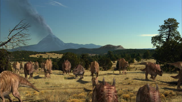 in an animation, dinosaurs walk through a field. - geology stock videos & royalty-free footage