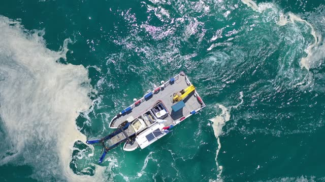 in an arial view, boats of the istanbul municipality sea surface cleaning team, work to remove 'sea snot' on the marmara sea, on june 11, 2021 in... - clean stock videos & royalty-free footage