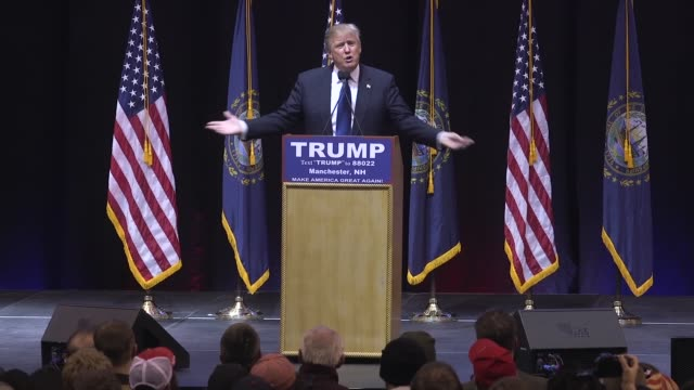in an event in manchester new hampshire the day before the new hampshire primary us presidential candidate and businessman donald trump spoke to... - prescription drug costs stock videos & royalty-free footage