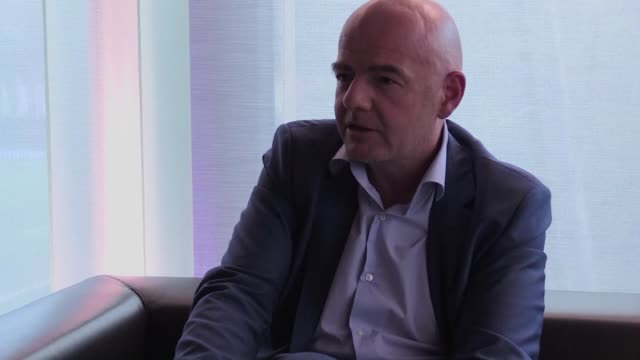 vídeos de stock, filmes e b-roll de in an exclusive interview fifa chief gianni infantino tells afp the bidding process for the 2026 world cup will be bulletproof and transparent and... - gianni infantino
