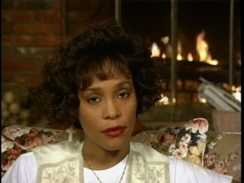in an exclusive interview singer whitney houston discusses her singing ability and voice potential - music or celebrities or fashion or film industry or film premiere or youth culture or novelty item or vacations bildbanksvideor och videomaterial från bakom kulisserna