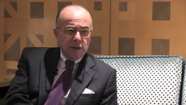 in an exclusive interview with afp french interior minister bernard cazeneuve talks about the necessary cooperation between western and arab states... - bernard cazeneuve stock videos & royalty-free footage