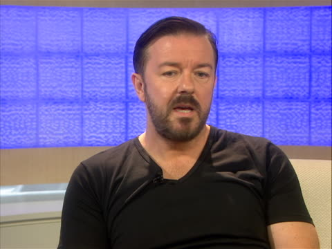 "in an interview comedian ricky gervais comments on hosting the golden globes. he says, ""i did it twice. i wanted to improve on the first time. i... - ricky gervais stock videos & royalty-free footage"